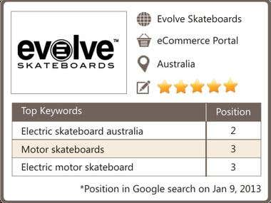 SEO for an eCommerce Portal selling Skateboards