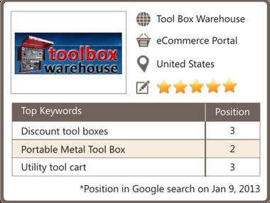 SEO for Tool Box Warehouse