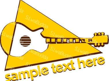 Electric guitar symbol with sample text