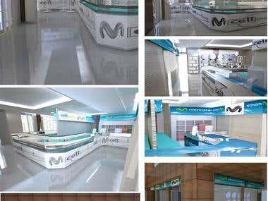 PROPUESTA TIENDA CELL POINT-MOVISTAR FOTOREALISMO 3D