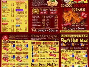Menu design for fast food restaurant
