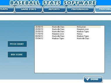 Base Ball Statistic Software Using VB 6.0 , Access