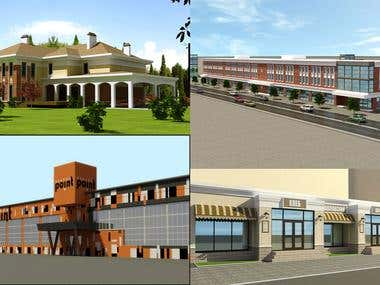 Design, 3d modeling and visualization of exteriors.