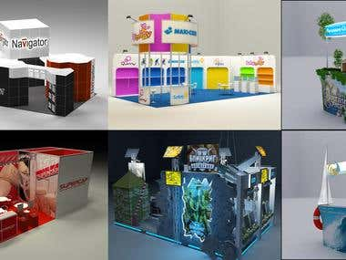 Design, 3d modeling and visualization of booth.
