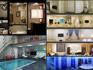 Example layout of the apartment and 3d panorama.