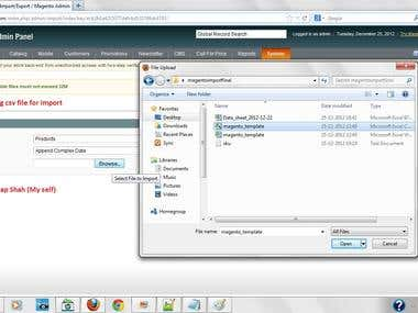 Import products into Magneto Admin Panel