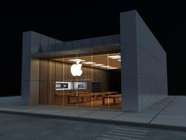 3d Apple Shop Commercial Building Store Project