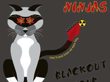 Atomic Rock Ninja Neko Illustration / T-shirt Design