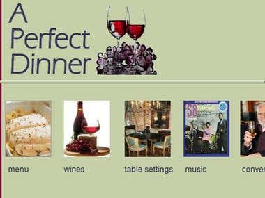 Homepage design for A Perfect Dinner website