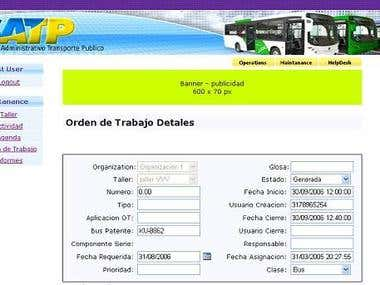 Bus Maintanance application in Spanish