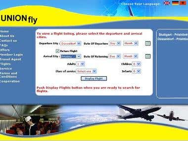 Travel Operator website