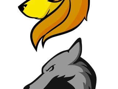 Lion & Wolf illustrations