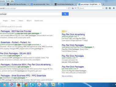 "Ranked ""PPC"" Package Keyword"