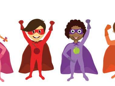 Kids Super Heroes Illustration For Beverage Label