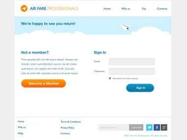 Air Fare Professionals PSD to HTML