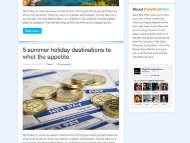 DailyDealsFilter Blog PSD to HTML to WordPress