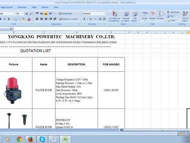 Quotation/Pump manufacturing Project