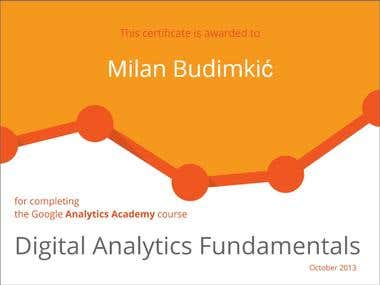 """Digital Analytics Fundamentals"" certification"