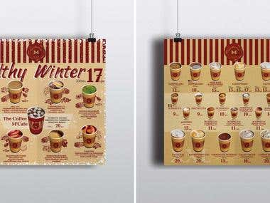 "Cards and menu for ""The Coffee M'Cafe"""