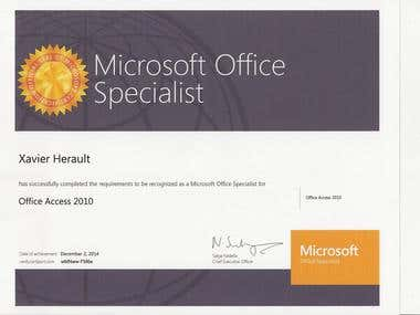 Microsoft Office Specialist, Access 2010