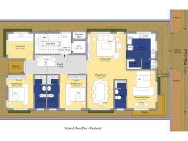 Rendered House Floor Plan and Design from HomePlansIndia