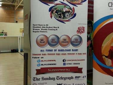 Banner for a wheelchair rugby competiotn in UK