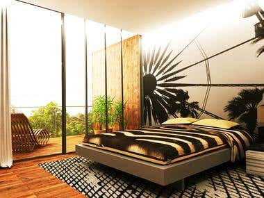 3D modeling and rendering of bedroom