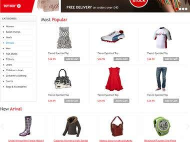Shopping Cart, Website designed and developed