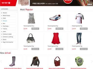 Shopping Cart, Website designed and developed
