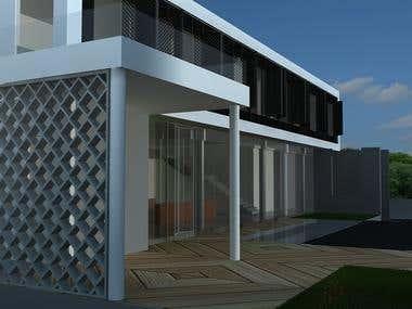 3D rendering of exterior of bungalow