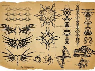 A tribal tattoo sheet