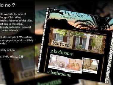 Villa no 9 - website for villa renting company