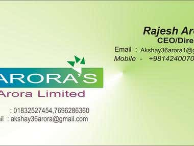 Arora Limited visting card