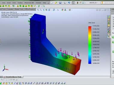 picture of tensile strenght simulation 3d solid work