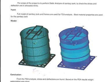 Static stress analysis of sanitary tank