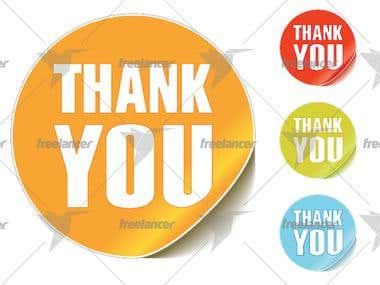 Vector of thank you stickers. Different color combinati