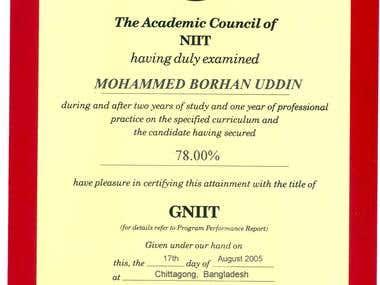 Borhan's GNIIT Certificates