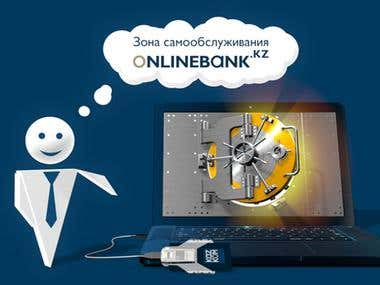 Online banking advertisement print for KAZKOM bank