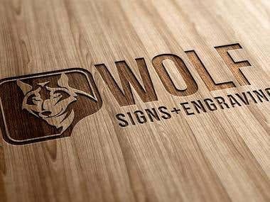Wolf Sign and Engraving Logo