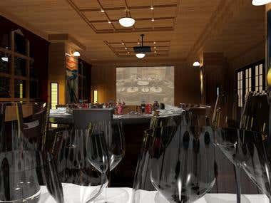 3D interior design - banquet hall