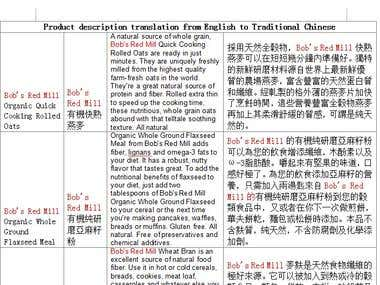 Product description translation from English to Traditional