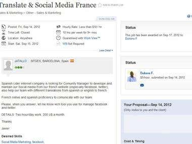 Social Media & Spanish into French translation