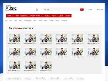Web site template for music web store