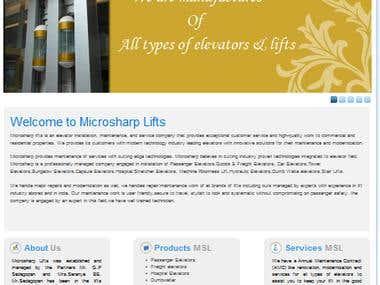 Website for Lift company - microsharplifts.com