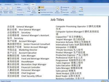 Chinese/English Translation in MS powerpoint