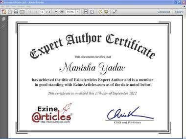 ezine certification for expert author