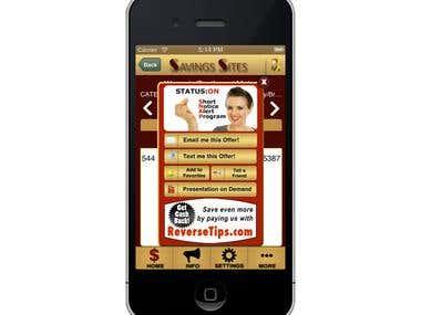 Savings Site iPhone app