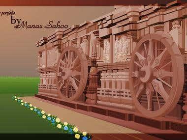 Konark Sun temple. Created in Adobe Flash.