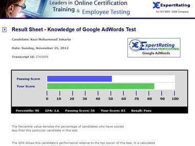 Expertrating professional Adwords Certification