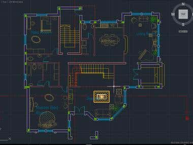 2D AutoCAD drawing for a home.